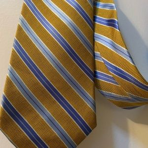 """Brooks Brothers """"346"""" Striped Yellow & Blue Tie"""